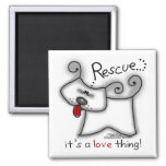Rescue...it's a love thing! 2 inch square magnet