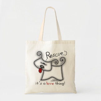 Rescue...it's a love thing! budget tote bag