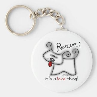 Rescue...it's a love thing! basic round button keychain