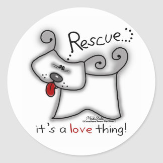 Rescue...it's a love thing! classic round sticker