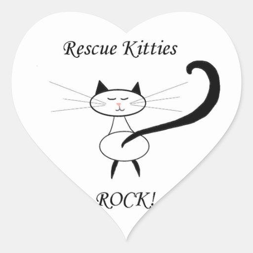 Rescue Kitties Rock! Heart Sticker