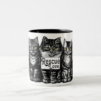 rescue love Two-Tone coffee mug