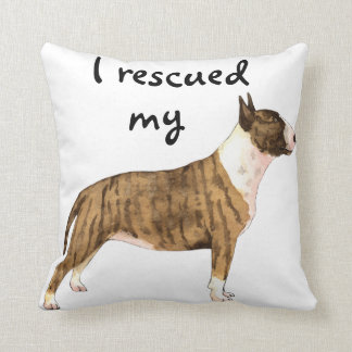 Rescue Miniature Bull Terrier Throw Pillow