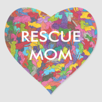 """Rescue Mom"" Heart-shaped stickers with cat motif."