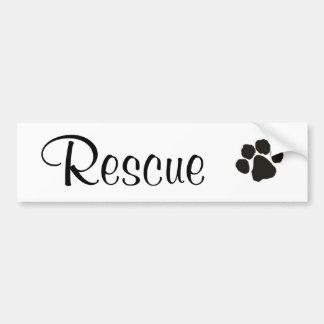 Rescue Paw Print Cursive Bumper Sticker