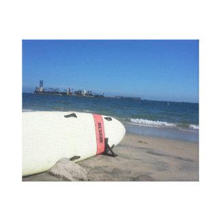 Rescue surf board, Long Beach, CA canvas print