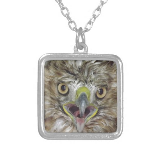 Rescued and Released Hawk Square Pendant Necklace