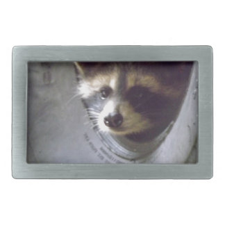 rescued and released raccoon rectangular belt buckle