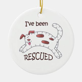 Rescued Dog Applique Ceramic Ornament