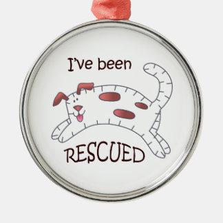 Rescued Dog Applique Metal Ornament