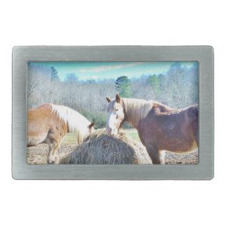Rescued Draft Horses eating hay Belt Buckle