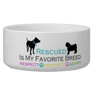 Rescued is Favorite Breed Pet Bowl