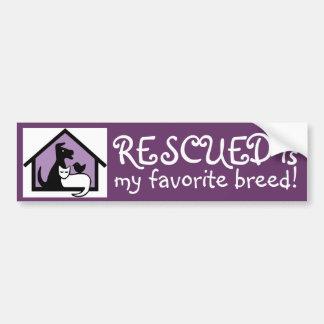 Rescued is my favorite breed! car bumper sticker