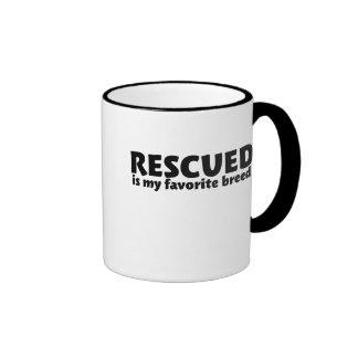 Rescued is my favorite breed ringer mug