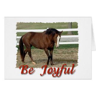 Rescued Morgan Horse:  Be Joyful Greeting Card