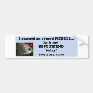 Rescued pitbull car bumper sticker
