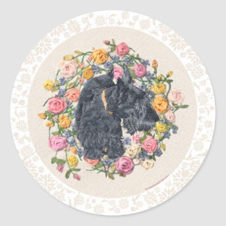 Rescued Scottie Bonnie on Floral Background Classic Round Sticker
