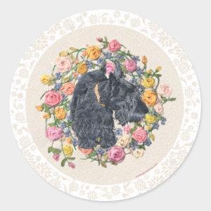 Scottie Dog on Floral Background Sticker