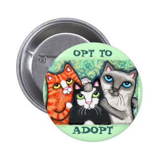 Rescued / Shelter Cat's 2 Inch Round Button