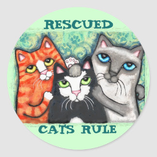 Rescued / Shelter Cat's Round Stickers