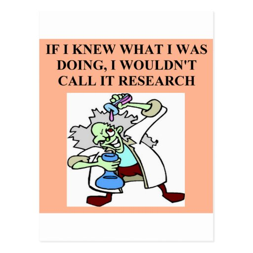 research  joke postcard