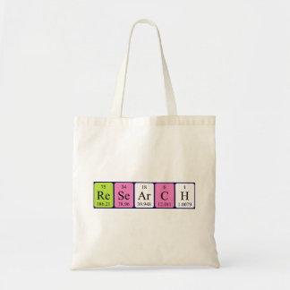 Research periodic table name tote bag