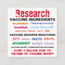 Research Vaccines Business Cards / Hand Out Cards