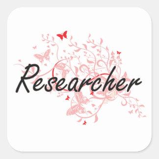 Researcher Artistic Job Design with Butterflies Square Sticker