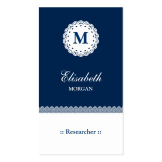 Researcher Blue White Lace Monogram Double-Sided Standard Business Cards (Pack Of 100)