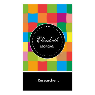 Researcher- Colorful Sqaure Pattern Double-Sided Standard Business Cards (Pack Of 100)