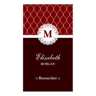 Researcher Elegant Brown Lace Pattern Double-Sided Standard Business Cards (Pack Of 100)