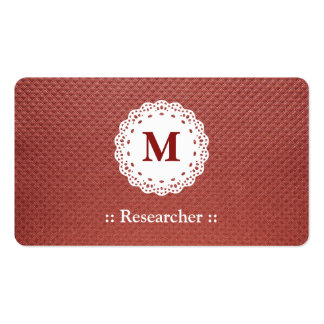 Researcher Lace Monogram Maroon Double-Sided Standard Business Cards (Pack Of 100)
