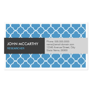 Researcher - Modern Blue Quatrefoil Double-Sided Standard Business Cards (Pack Of 100)