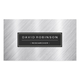 Researcher - Modern Brushed Metal Look Double-Sided Standard Business Cards (Pack Of 100)