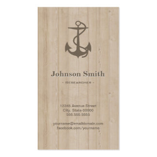 Researcher - Nautical Anchor Wood Double-Sided Standard Business Cards (Pack Of 100)