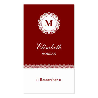 Researcher Red White Lace Monogram Double-Sided Standard Business Cards (Pack Of 100)