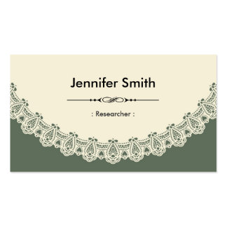 Researcher - Retro Chic Lace Double-Sided Standard Business Cards (Pack Of 100)