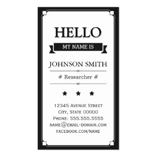 Researcher - Retro Hello My Name Is Double-Sided Standard Business Cards (Pack Of 100)