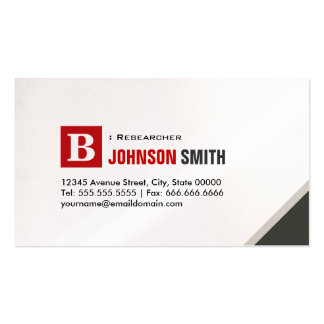 Researcher - Simple Chic Red Double-Sided Standard Business Cards (Pack Of 100)
