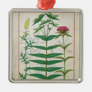 Reseda, Euphorbia and Dianthus Metal Ornament