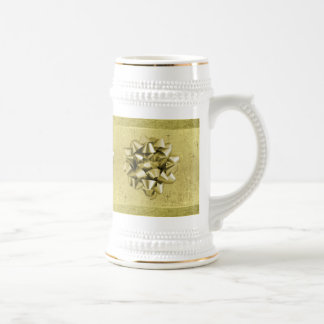 Resembles a Christmas Gift Wrapped in Gold Foil Beer Stein