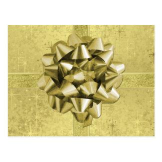Resembles a Gold Foil Christmas Present Postcard