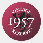 Reserva 1957 del vintage pegatina redonda