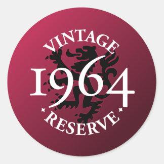 Reserva 1964 del vintage pegatinas redondas