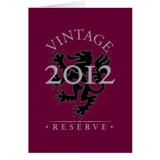 Reserva 2012 del vintage tarjeta de felicitación