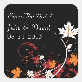 Reserva abstracta del boda de las hojas de otoño pegatina cuadrada