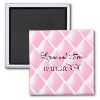 Reserva acolchada rosa del diamante la fecha imán cuadrado