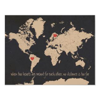 Reserva adaptable del mapa del mundo la fecha invitación 10,8 x 13,9 cm
