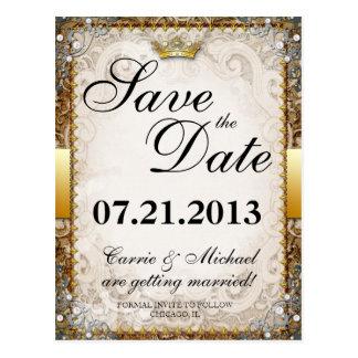 Reserva adornada del boda del guión del cuento de  tarjetas postales
