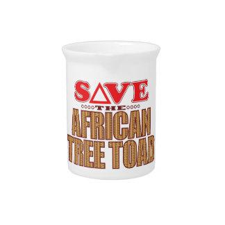 Reserva africana del sapo de árbol jarra de beber